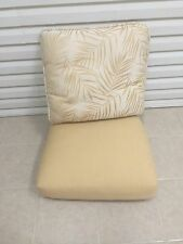 2 pc Frontgate Monaco Patio Chair Outdoor Cushions 25x25 Gold Palm Leaf Leaves