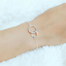 Sterling Silver 925 Interlocking Hoop Circle Infinity Eternity Chain Bracelet