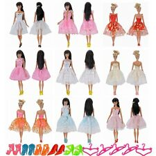 3 Pcs Dolls Clothes Wending Dress Party Skirt 5 Shoes 5 Hanger For Barbie Doll S