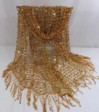 Scarf Shawl Wrap Table Runner Net Evening Gold with Gold Sequins WOW Factor