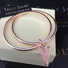 Stunning Rose Gold Heart Charm Duo Bangle By Truly Julry - Gift Packaged