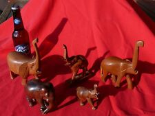 Vintage Tourist Items FIVE Carved WOODEN ELEPHANTS Various Hardwoods & Sizes