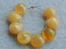 Natural Yellow Opal Faceted Heart Briolette Semi Precious Gemstone Beads 003