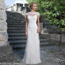 Elegant Lace Cap Sleeves Wedding Dress Bridal Gown custom size 8 10 12 14 16 18+