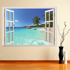 60*90cm 3D Seaview Vista Mare Hawaii Muro Sticker Adesivo Per Finestra Casa