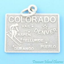 COLORADO STATE MAP DENVER ASPEN VAIL DURANGO .925 Solid Sterling Silver Charm