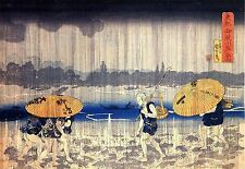 Heavy Rain Japanese Reproduction Woodblock Print Utagawa Kuniyoshi A3