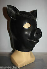 LATEX BLACK GUM FETISH PIG PIGLET FULL HEAD RUBBER HOOD MEN PIGGY ANIMAL MASK