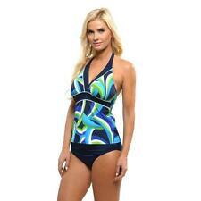 NEW MAGICSUIT MIRACLESUIT TANKINI SWIMSUIT Size 10 2 PC Banded Navy Blue Halter