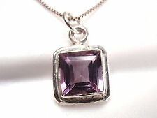 Faceted Purple Amethyst Radiant Necklace 925 Sterling Silver Square New