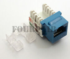 100 Pack Lot - CAT5e RJ45 110 Punch Down Keystone Modular Snap-In Jacks - Blue