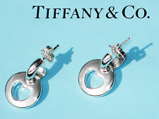 Tiffany & Co Sterling Silver Hoop Pierced Stencil Heart Drop Earrings