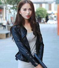 New Women's fashion casual short lapels leather motorcycle jacket coat outwear