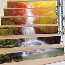 Waterfall 3D Stairs Tile Risers Mural Vinyl Decal Wallpaper Stickers Decor 6pcs