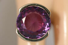 HEAVY WIDE 14K SOLID GOLD BIG 18CT COLOR CHANGE ALEXANDRITE RING 14KT SZ 6 8.45G