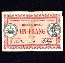Senegal 1 Franc  1917  P-2c  * COLONIE DU SÉNÉGAL * ( RARE Signature )