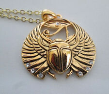 Egyptian Jewelry Scarab and Eye of Horus Rhinestone Necklace with Chain #J360