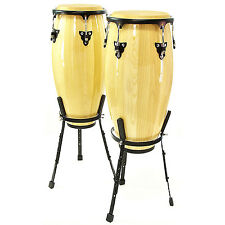 """New Congas 10"""" + 11"""" Set with Floor Stand by Gear4music"""