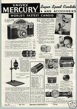 1941 PAPER AD Univex Mercury Fastest Candid Camera 35MM Film