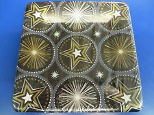 "Glitter Starz Black Gold Stars Hollywood Theme Party 7"" Square Dessert Plates"