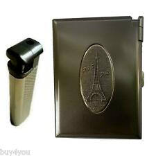 Zigarettenetui Metall mit Feuerzeug Tabak Case Box Zigarettenbox Grau Neu