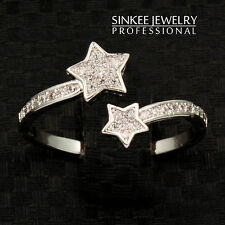 Trendy Micro Paved Crystal Lucky Star Rings Women Free Size Midi Promise Ring