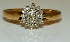 A VINTAGE 18CT  YELLOW  GOLD 0.1CT DIAMOND CLUSTER ENGAGEMENT  BAND RING