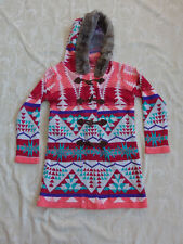 Valley Girl Long Knitted Jumper Coat With Hood Women's Size S