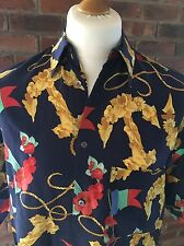 Mens 100% Silk Leonard Shirt With Anchor Flag And Chain Pattern