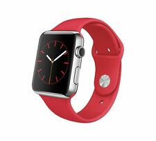 Genuine Apple Watch 42mm MLLE2B/A Stainless Steel Case Red Sport Band NEW