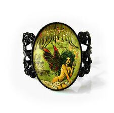 Absinthe Green Fairy Gothic Victorian Art Nouveau Jet Black Glass Filigree Ring