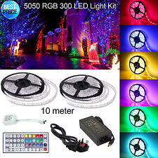 10m SMD 5050 RGB 300 LED STRIP LIGHT + UK Power Adapter + IR Remote + Ricevitore