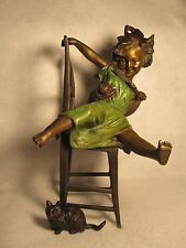 "BRONZE SCULPTURE~GIRL PLAYING WITH CAT ON CHAIR~""JOLIE  CHAT""~BY FRANZ IFFLAND"
