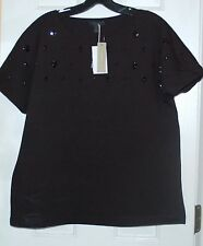 New Womens J.Crew Crepe Tee  Blouse Shirt Jeweled Dolman Top Small Black
