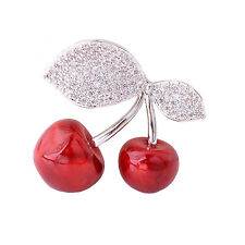 Sparkling Crystal Leaf Red Cherry Pin Brooch Sweater Pin Fruit Brooch Safty Pin
