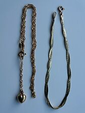9ct gold heart ankle bracelet and 9ct gold bracelet.  2.6 grams.
