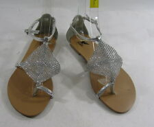 Summer NEW silver  WOMEN flat  ankle strap SANDALS shoes SIZE  5.5