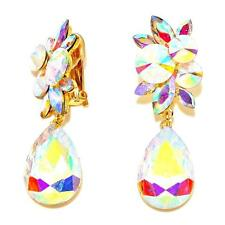 "2.75"" Chunky Ab Clear Austrian Crystal Gold CLIP on Earring Drag Queen Pageant"