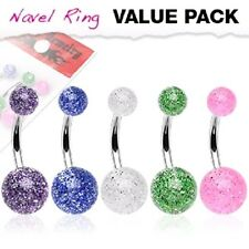 5 lot SHINY GLITTER UV Balls BELLY BUTTON NAVEL RINGS Body Piercing Jewelry