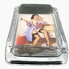 Glass Square Ashtray Pin Up Girl Design-020 Vintage Sexy Lady Babe with Hammer