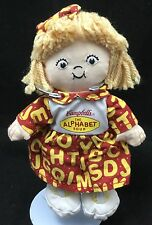"Campbells Soup Alphabet Doll Girl Soft Beanie Red Yellow 2001 Plush 8"" Toy Lovey"