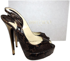 $850 Jimmy Choo Brown Snake Leather SHAW Sandal Platform Slingback Shoe 37 Pump