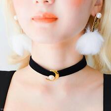 Charming Women Neck Decor Short Choker Moon Pearl Shape Black Neacklace Collar