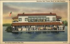 Hot Springs National Park AR Excursion Boat Queen Mary Linen Postcard