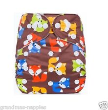 MODERN CLOTH NAPPIES REUSABLE ADJUSTABLE DIAPERS Brown Fox