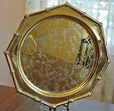 Vtg Copper Craft Dogwood/Butterfly/Bamboo Tooled Brass Octagon Tray Bamboo Edge