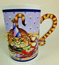 """Danbury Mint Comical Cat COFFEE MUG """"PARTY TIME"""" By Gary Patterson"""