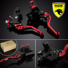 MZS Red Brake Clutch Levers Master Cylinder Reservoir For Kawasaki ZX6R/ZX7R