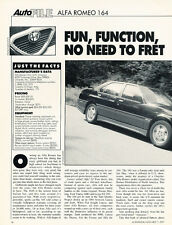 1991 Alfa Romeo 164 - Autofile - Classic Original Article aw01071991-H54