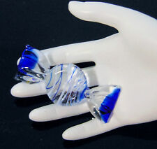 Murano Blown Glass Cobalt Blue Swirl WRAPPED CANDY TWIST Peppermint Italy MINT!